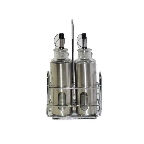 Kit 2 Galheteiros De Aço Inox Azeite E Vinagre Com Dosador