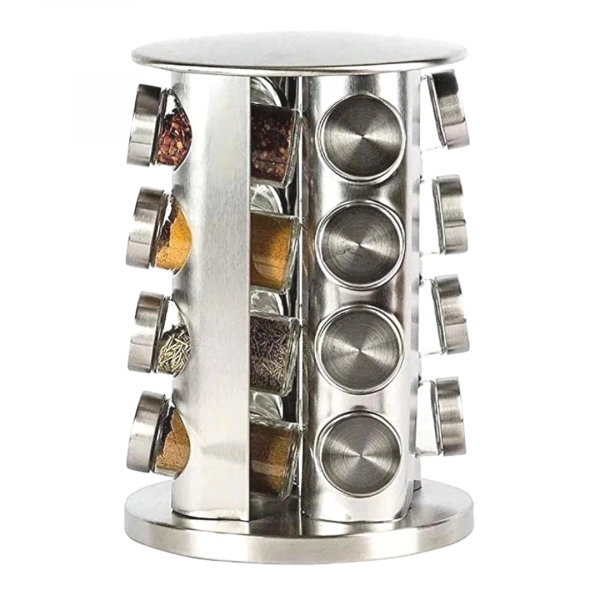 Porta Condimentos e Tempero 16 Potes de Vidro com Tampa Inox