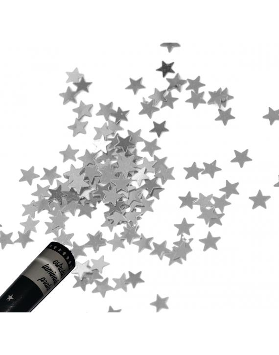 Tubo 30 cm Lança Confetes Papel Laminado Festa Estrela Prata