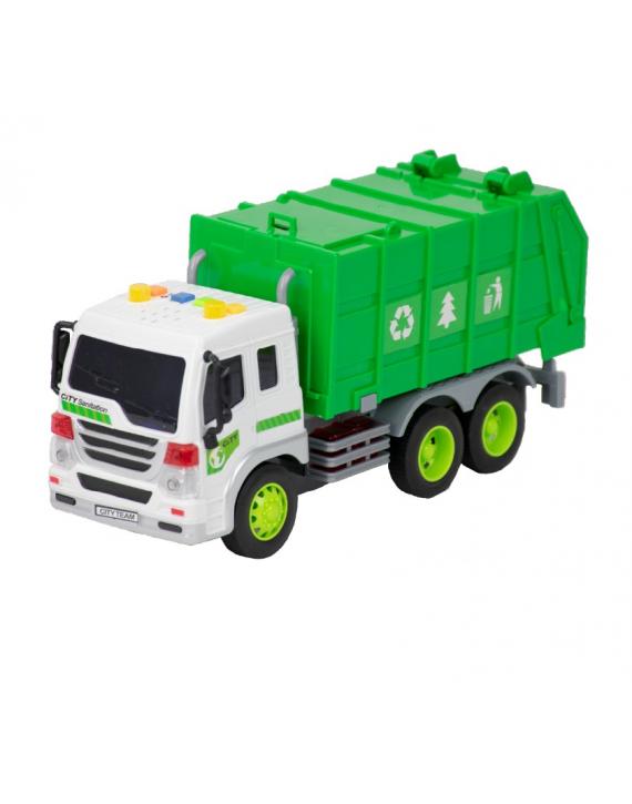 Brinquedo Caminhão Lixo Fricção Som Luz - BBR TOYS