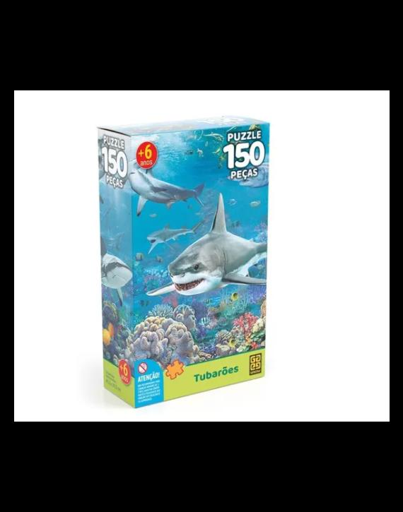 Jogo Quebra Cabeça Puzzle Tubarões  150 Peças Da Grow