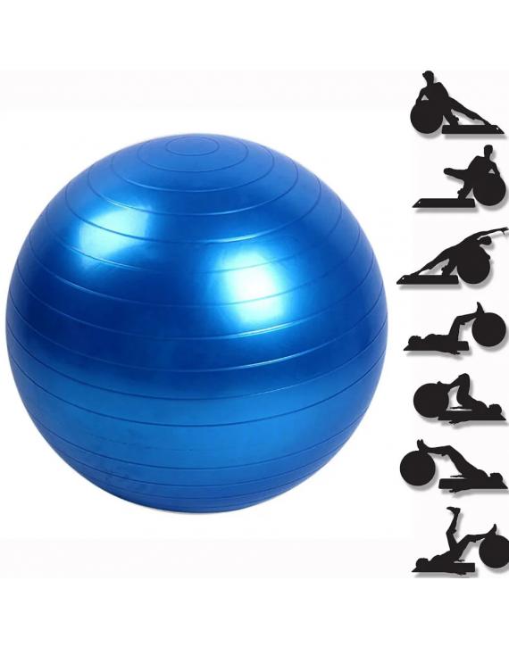 Bola Suiça 65 cm Yoga Pilates Fitness Abdominal Azul
