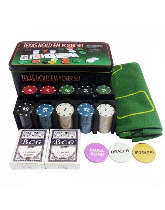 Estojo Jogo Poker Texas Holdem 200 Fichas Numeradas Feltro