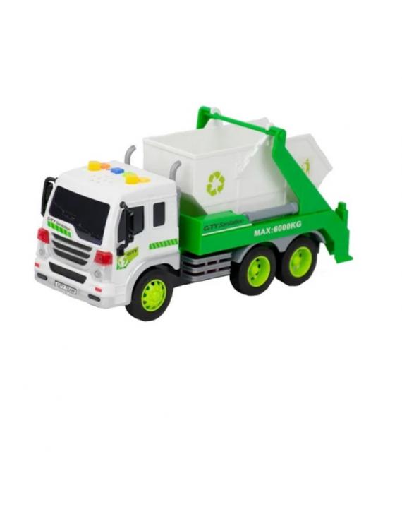 Brinquedo Caminhão De Lixo Reciclagem Caçamba Fricção C/Som