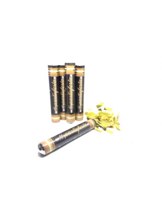 Tubo Lança Confetes dourado metalizado festas