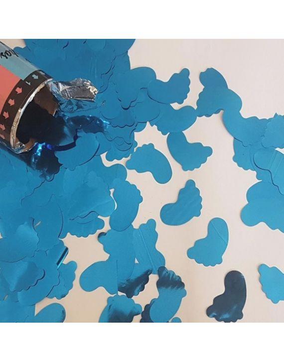 Tubo Lança Confetes Chá Revelação Pezinho Azul Bebê Festas