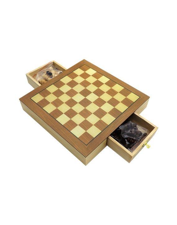 Jogo De Xadrez e Dama Tabuleiro Em Madeira Quadrado 39 x 39 - Hoyle