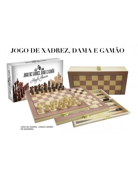 Jogo De Xadrez, Gamão E Dama Em Madeira Tabuleiro 40 X 40cm